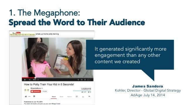 1. The Megaphone: Spread the Word to Their Audience James Sandora Kohler, Director - Global Digital Strategy AdAge July 14...