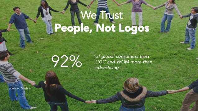 92% of global consumers trust UGC and WOM more than advertising We Trust People, Not Logos Source: Nielsen
