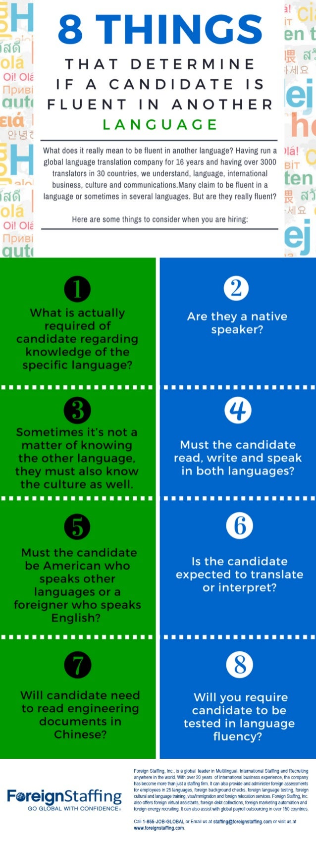 THAT DETERMINE IF A CANDIDATE IS FLUENT IN ANOTHER  I.  A N G U A G E  What does it really mean to be fluent in another la...