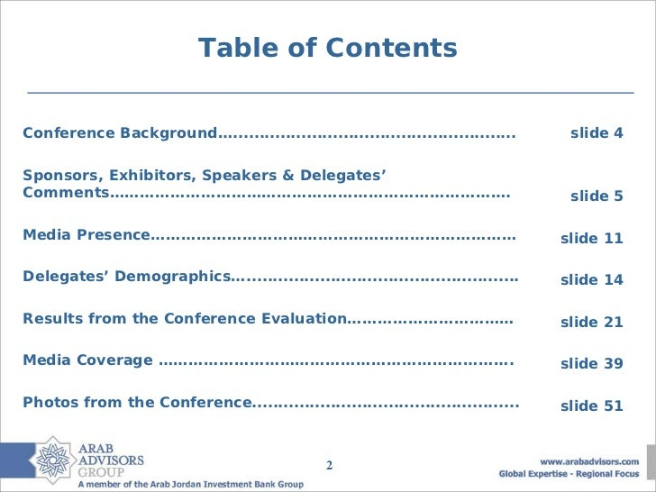 Table of ContentsConference Background…......................................................     slide 4Sponsors, Exhibit...