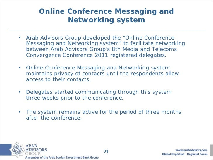 """Online Conference Messaging and              Networking system• Arab Advisors Group developed the """"Online Conference  Mess..."""