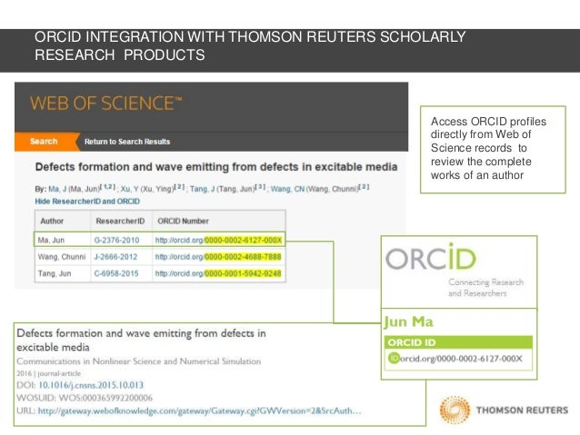 ORCID integration at Thomson Reuters (S D  Seng)