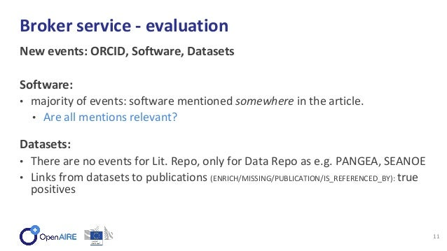 New events: ORCID, Software, Datasets Software: • majority of events: software mentioned somewhere in the article. • Are a...