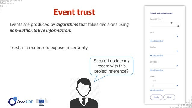Event trust Events are produced by algorithms that takes decisions using non-authoritative information; Trust as a manner ...
