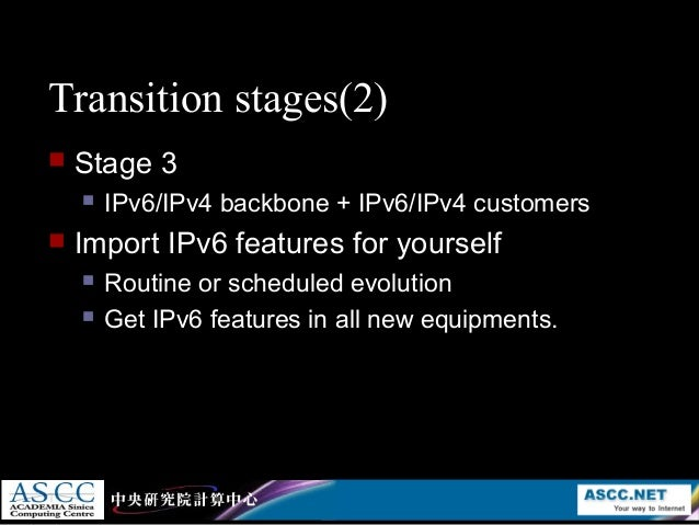 ipv4 to ipv6 transition However ipv6 is not backward compatible with ipv4since it is not possible to  migrate  techniques to implement ipv4 to ipv6 transition and figure out the most .