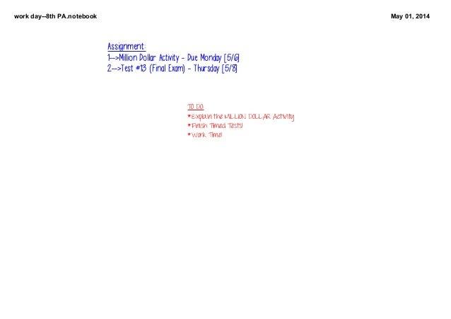 workday8thPA.notebook May01,2014 TODO: *ExplaintheMILLIONDOLLARActivity *FinishTimedTests! *WorkTime! Assign...