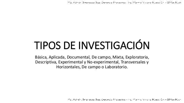 TIPOS DE INVESTIGACIÓN Básica, Aplicada, Documental, De campo, Mixta, Exploratoria, Descriptiva, Experimental y No-experim...