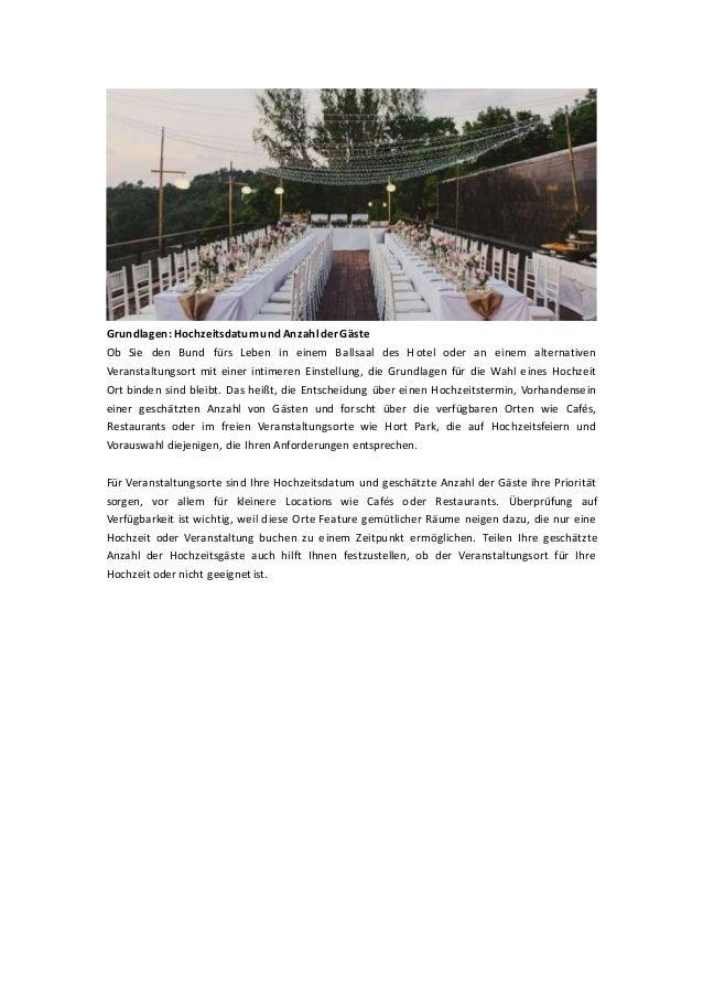 Grundlagen: Hochzeitsdatumund AnzahlderGäste Ob Sie den Bund fürs Leben in einem Ballsaal des Hotel oder an einem alternat...