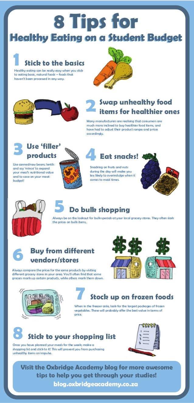 8 Tips for Healthy Eating on a Student Budget 1 Stick to the basics Healthy eating can be really easy when you stick to ea...