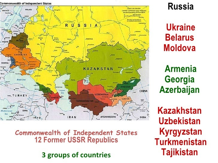 Commonwealth of Independent States 12 Former USSR Republics 3 groups of countries Russia Ukraine Belarus  Moldova   Armeni...