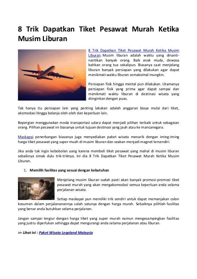 8 Trik Dapatkan Tiket Pesawat Murah Ketika Musim Liburan