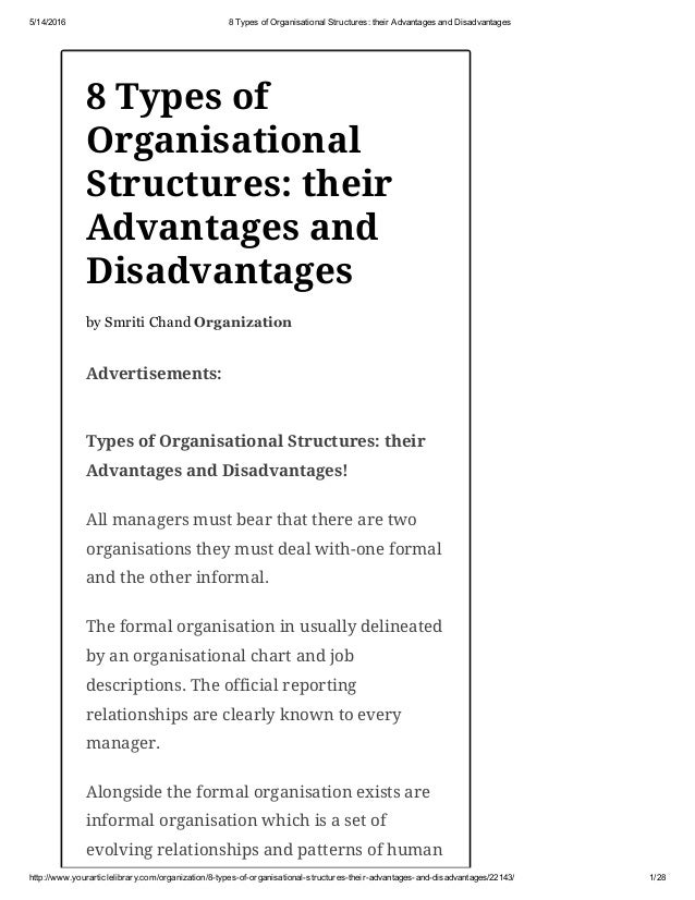 8 types of organisational structures their advantages and disadvanta…