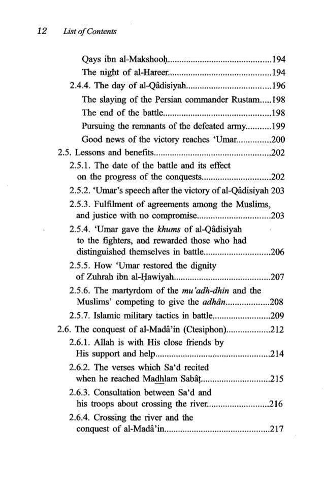 'Umaribn al-Khattib 13 2.6.5. The Muslims cross the river............................... 219 2.6.6. Examples of the Muslim...