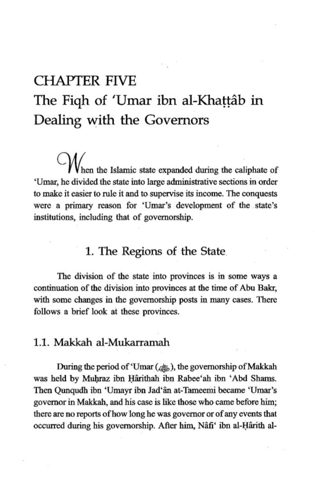 26 TheFiqh of 'Umar ibn al-Khatfrib K h d i became 'Umar's govemor in Makkah. When 'Umar died, Nzfi' was the governorof Ma...
