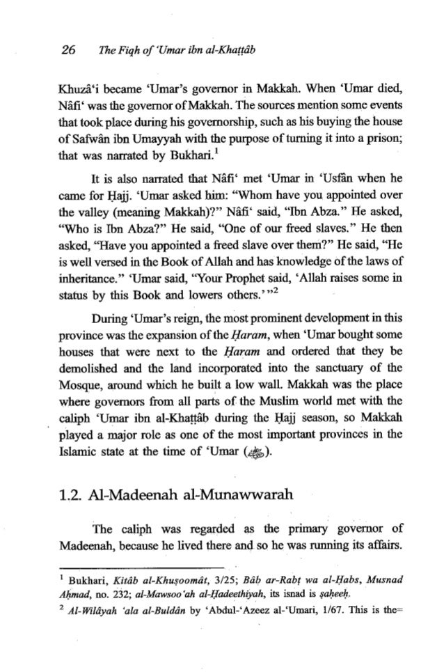 'Umar ibn al-Khatfib 27 When the caliph 'Umar was absent fYom Madeenah, he would appoint someone to take his place in runn...