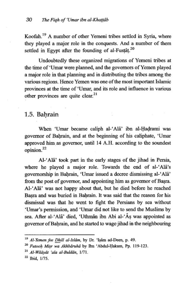 'Umaribn al-Khanbb 31 areas of Persia, until his conquests reached as far as al-Sind. 'Umar issued ordersto 'Uthmin ibnAbi...