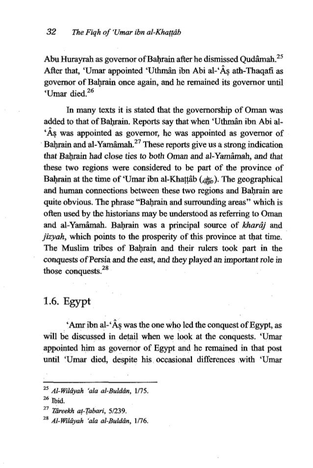 'Umar ibn al-Khatgtb 33 which led 'Umar to threaten to discipline him. 'Amr was the main governor of Egypt, but there were...