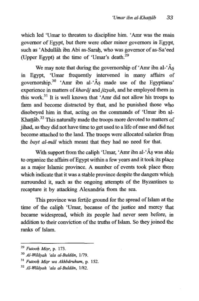 34 TheFiqh of 'Umar ibn al-Khagtlib Administrative matters in Egypt ran smoothly because when 'Amr was the governor he was...