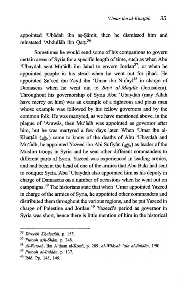 36 TheFiqh of 'Umaribn al-Khattrib sources. Yazeed died in 18A.H. Just before his death he appointed his brother Mu'iwiyah...