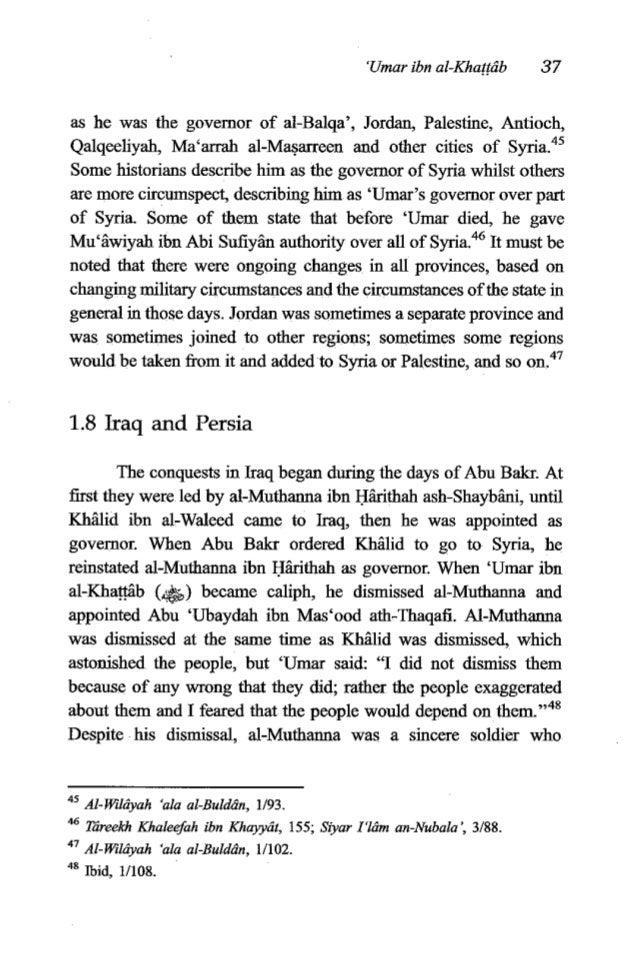 38 The Fiqh of 'Umaribn al-Khaffcib participated with Abu 'Ubayd in most of his battles and did well.49 After Abu 'Ubayd w...