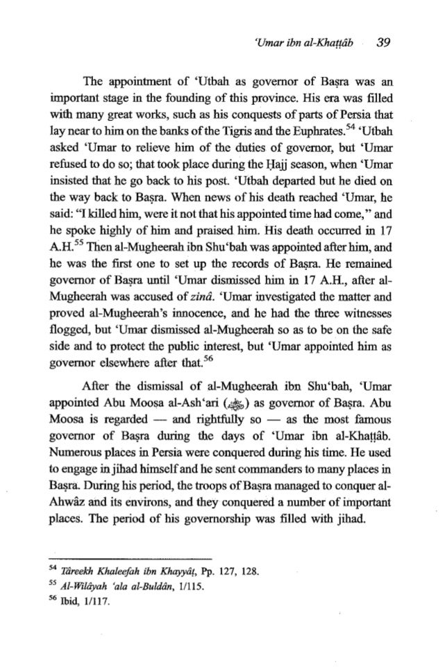 40 TheFiqh of 'Umar ibn al-KhaMb i Abu Moosa cooperated with the governors of neighbouring provincesin many wars and conqu...