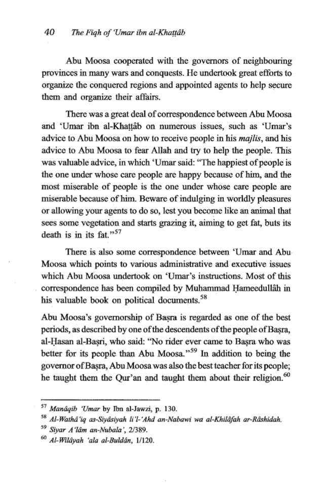 'Umar ibn al-Khuffdb 41 During the caliphate of 'Umar ibn al-Khagb, many cities in Persia which were conquered atthat time...
