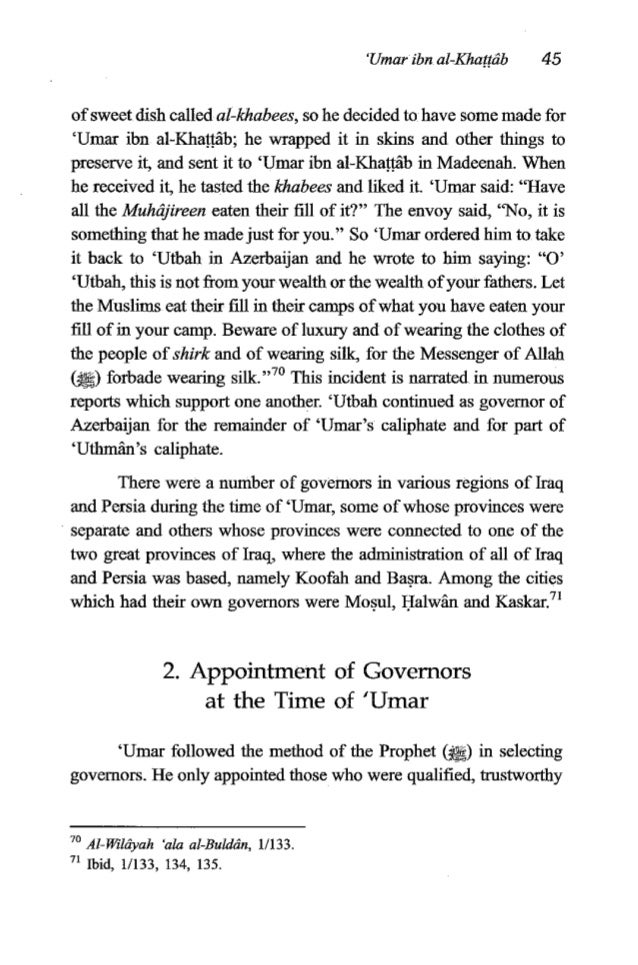 46 TheFiqh of 'Umauibn al-KhaBrib andmore suitedthan others forthis type ofwork, strivingto makethe best choice. He did no...