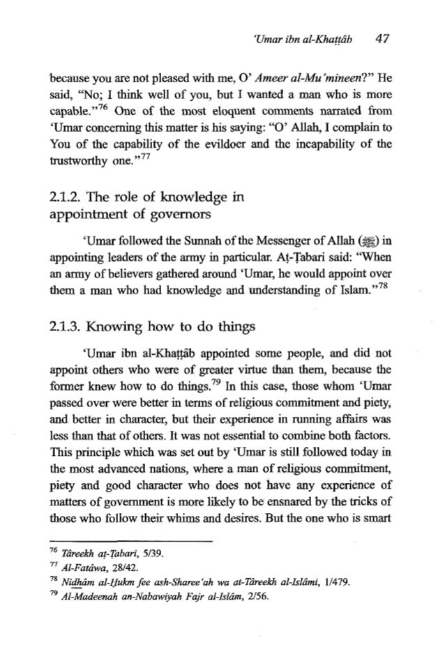 48 TheFiqh of 'Umaribn al-Khattrib and experienced will grasp things quickly and understand what is behind the spoken word...