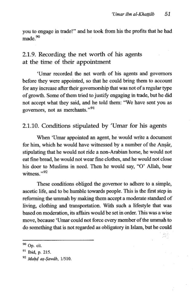 52 TheFiqh of 'Umar ibn al-Khagib 1 force the governors and leaders to do that. If they committed themselvesto that, they ...