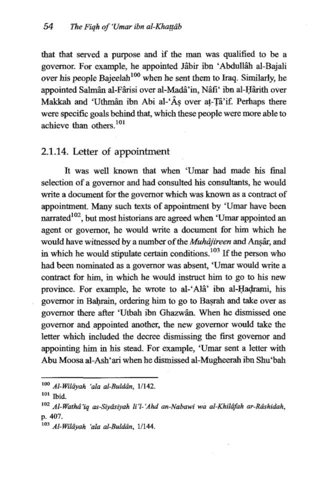 'Umar ibn al-Khat&b 55 from his post as governor of Ba~raand appointed Abu Moosa in his stead.'04 2.1.15. Not seeking the ...