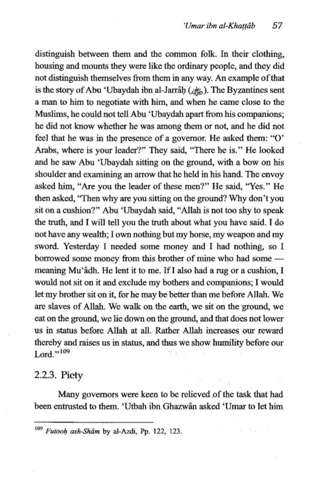 """58 The Fiqh of 'Umaribn al-Khattrfb off from the governorshipof Ba~ra,but he did not let him off.""""' An- Nu'min ibn Maqran,..."""