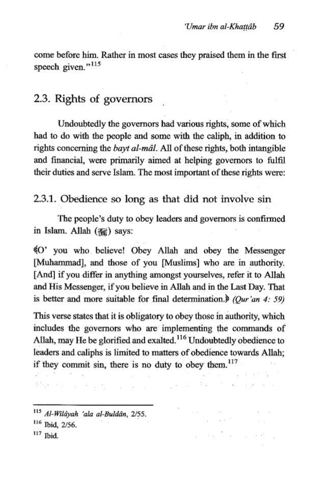 "60 TheFiqh of 'Umaribn al-Khanib 2.3.2. Giving advice to governors A man came to 'Umar ibn al-Khagb and said to him: ""0' A..."