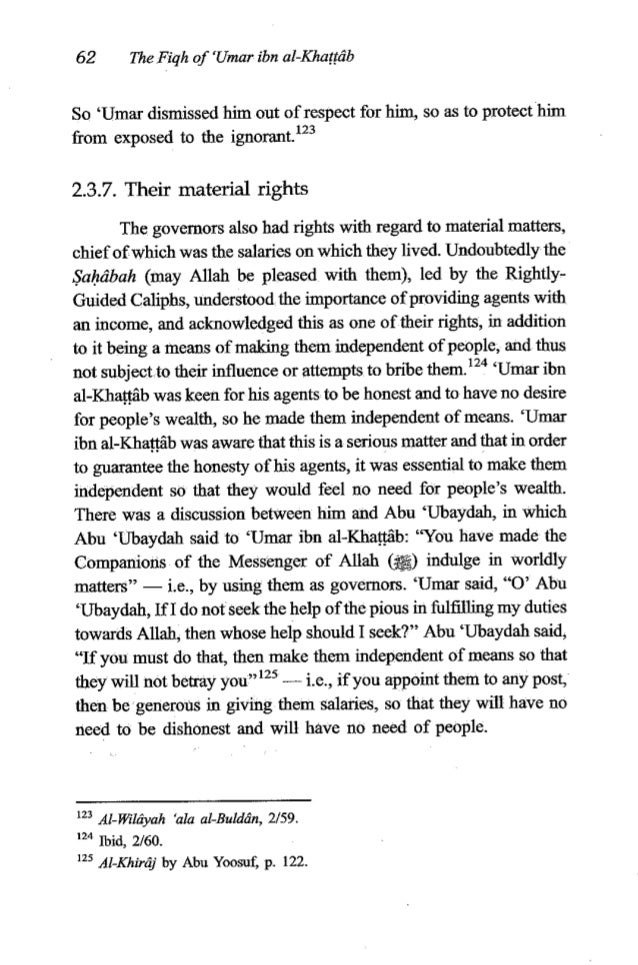 'Umar ibn al-KhaG6b 63 'Umar gaveto the commandersof armiesandtowns, and to all his agents, salariesthat were reasonably s...