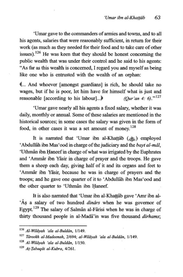64 TheFiqh of 'Umar ibn al-Khagkb because of his asceticismhe used to eat from what he earned by his own hands by making m...