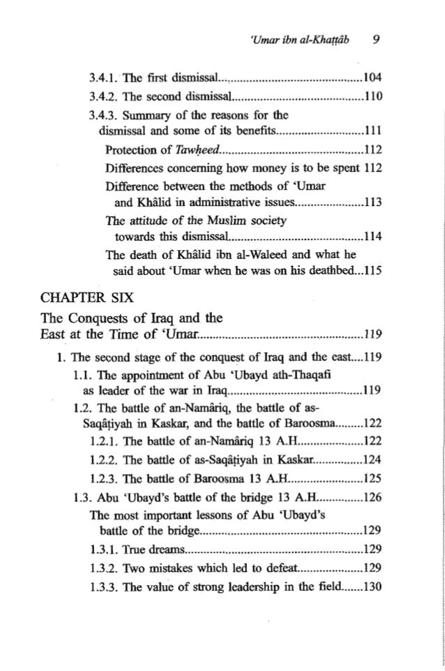 10 Listof Contents 1.3.4. Al-Muthanna raised the morale of his troops....I31 1.3.5. Every time the Muslims are faced with ...