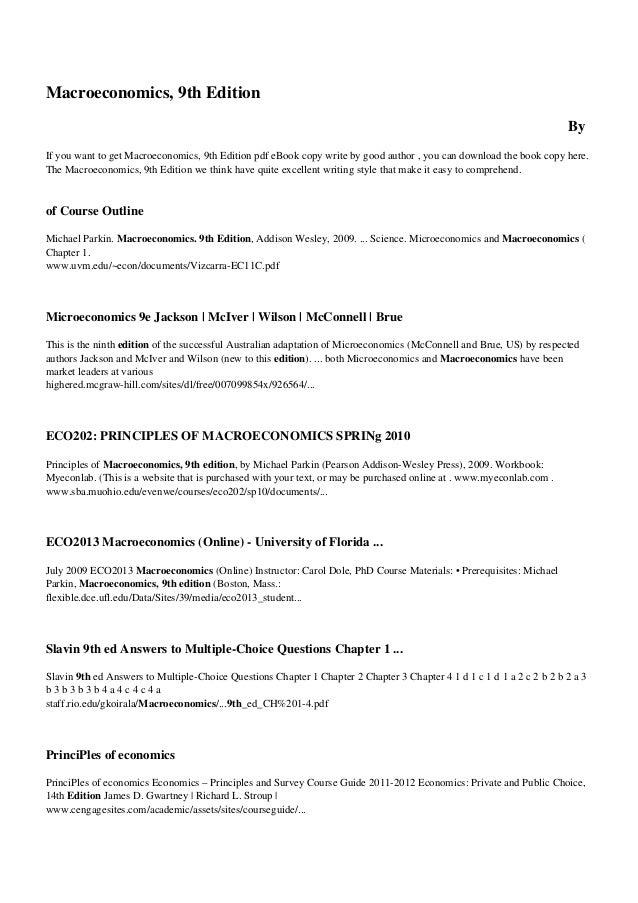 8vitw pdf book macroeconomics 9th edition rh slideshare net Quick Study Charts Shaum's Advanced Microeconomics