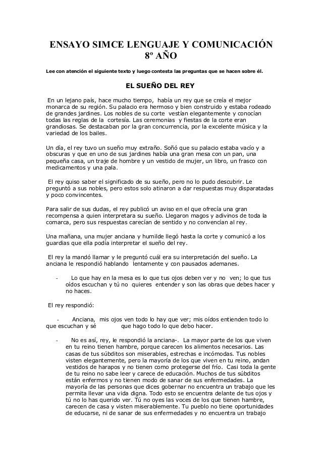 ENSAYO SIMCE LENGUAJE Y COMUNICACIÓN 8º AÑO Lee con atención el siguiente texto y luego contesta las preguntas que se hace...