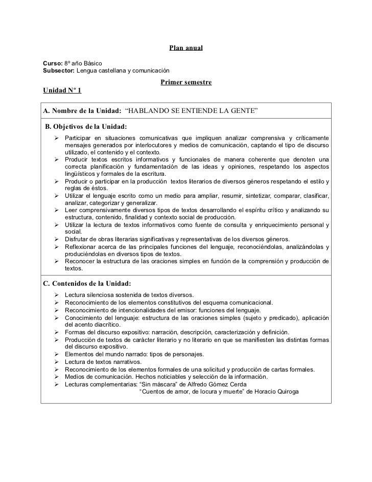 Plan anualCurso: 8º año BásicoSubsector: Lengua castellana y comunicación                                           Primer...
