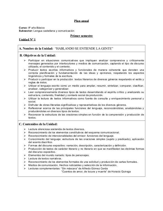 Plan anualCurso: 8º año BásicoSubsector: Lengua castellana y comunicaciónPrimer semestreUnidad Nº 1A. Nombre de la Unidad:...