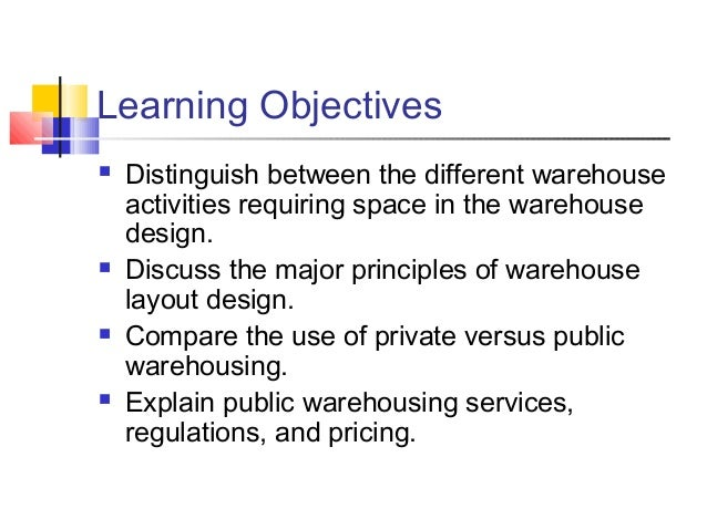 WAREHOUSING DECISION Slide 3