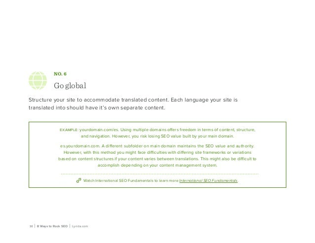 16 | 8 Ways to Rock SEO | Lynda.com NO. 6 Go global Structure your site to accommodate translated content. Each language y...