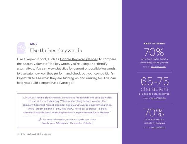 8 | 8 Ways to Rock SEO | Lynda.com NO. 2 Use the best keywords Use a keyword tool, such as Google Keyword planner, to comp...