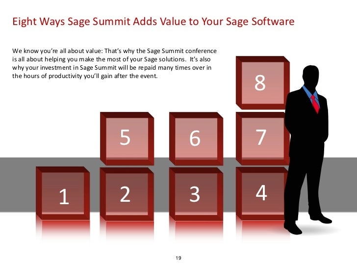 Eight Ways Sage Summit Adds Value to Your Sage SoftwareWe know you're all about value: That's why the Sage Summit conferen...