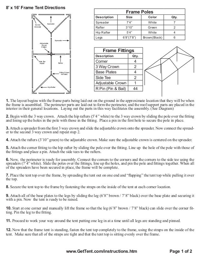 8 x 16 Frame Tent Installation Instructions