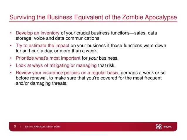 l 8x8 Inc. NASDAQ-LISTED: EGHT5Surviving the Business Equivalent of the Zombie Apocalypse• Develop an inventory of your cr...