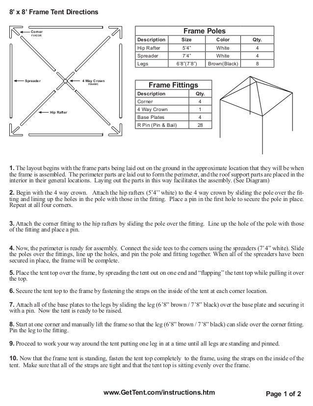 8u0027 x 8u0027 Frame Tent Directions Corner ...  sc 1 st  SlideShare & 8 x 8 Frame Tent Setup Directions