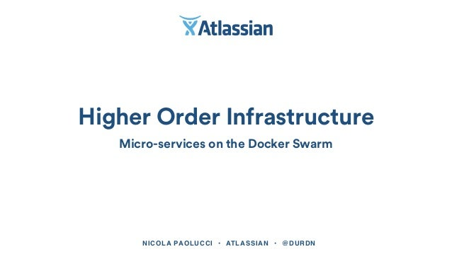 NICOLA PAOLUCCI • ATLASSIAN • @DURDN Higher Order Infrastructure Micro-services on the Docker Swarm