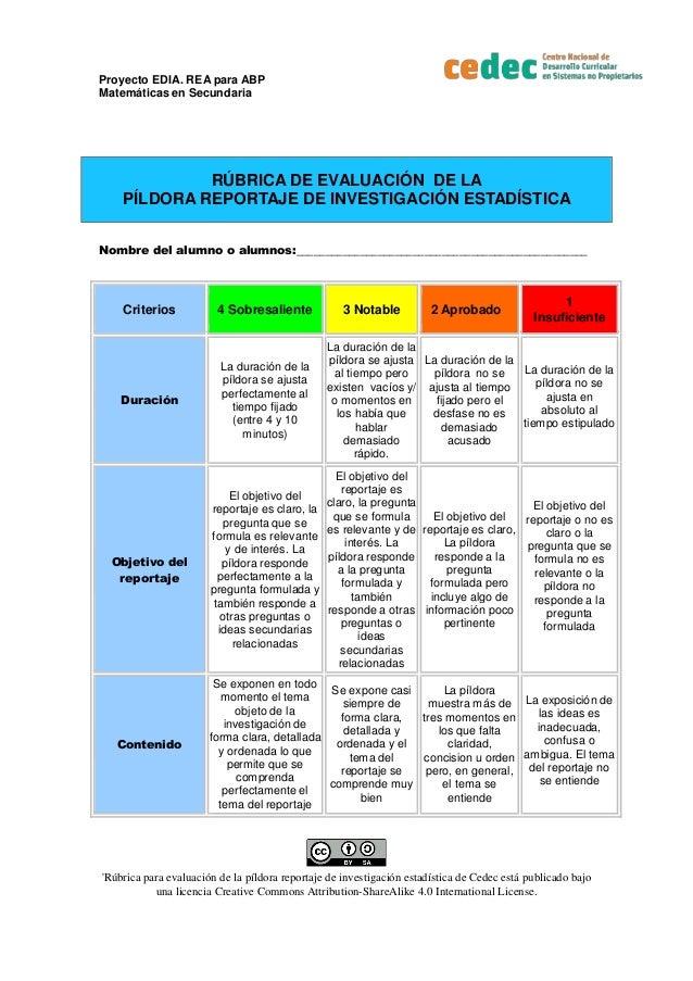 Proyecto EDIA. REA para ABP Matem�ticas en Secundaria 'R�brica para evaluaci�n de la p�ldora reportaje de investigaci�n es...