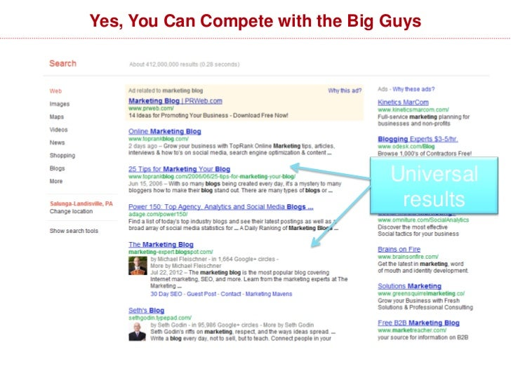 Yes, You Can Compete with the Big Guys                                  Universal                                   results