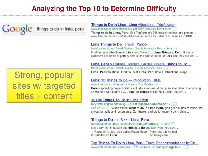 Analyzing the Top 10 to Determine Difficulty  Weaker, lesser known sites andnon-targeted titles